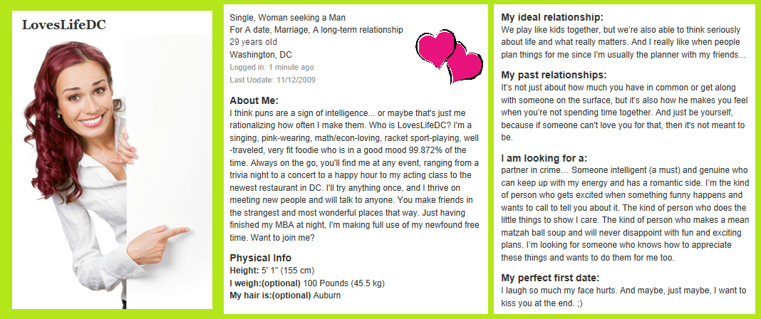 Dating Personal Ad Ideas