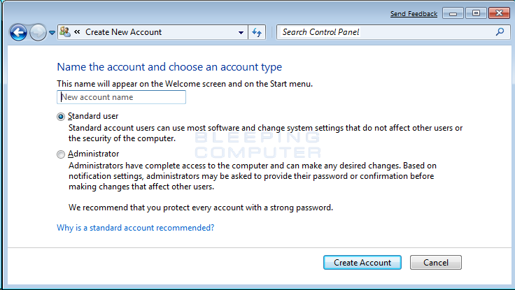 Create How Account User To A